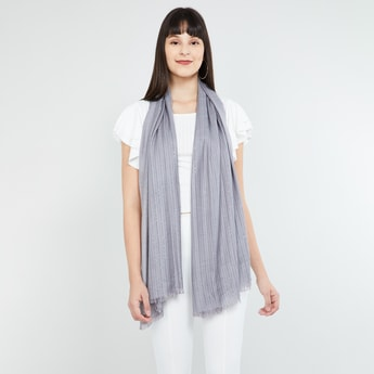 MAX Patterned Knit Embellished Scarf