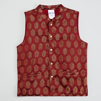 MAX Jacquard Patterned Sleeveless Ethnic Jacket