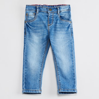MAX Stonewashed Slim Fit Elasticated Waist Jeans