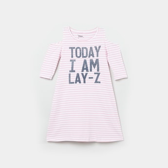 MAX Typographic Print Cold-Shoulder Nightdress