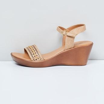 MAX Laser-Cut Embellished Ankle-Strap Wedges