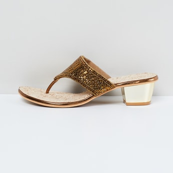 MAX Embellished Thong Block Heels