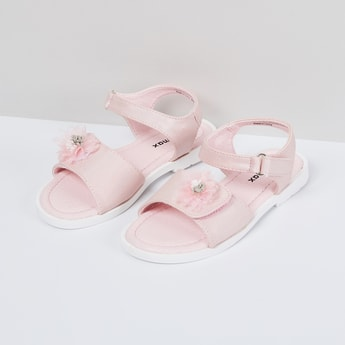 MAX Solid Sandals with Floral Applique