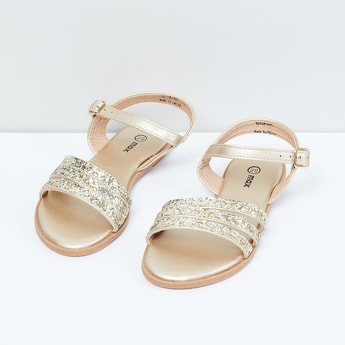 MAX Glittered Ankle Strap Sandals