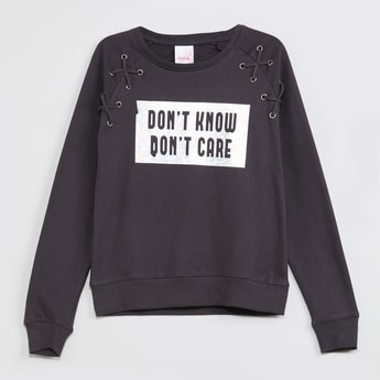 MAX Full Sleeves Printed Lace-Up Sweatshirt
