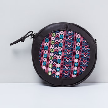 MAX Embroidered Circular Sling Bag with Mirror Work