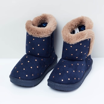 MAX Star Print Boots with Fur Panel
