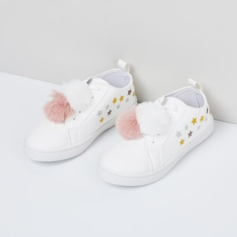 MAX Star Print Casual Shoes with Pompoms