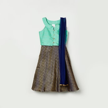 MAX Printed Blouse with Lehenga and Dupatta