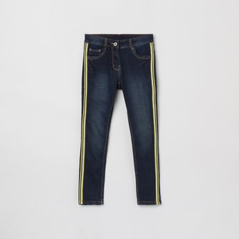 MAX Stonewashed Jeans with Contrast Taping