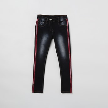 MAX  Stonewashed Tape-Detail Slim Fit Jeans