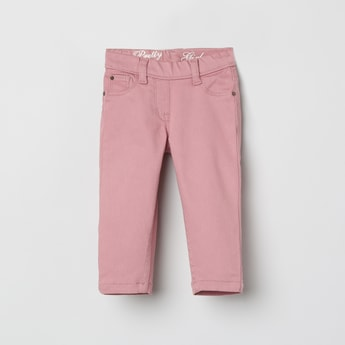 MAX Solid Denim Trousers with 5 Pockets