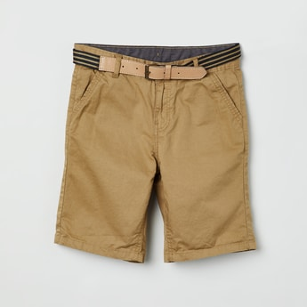 MAX Solid Casual Shorts with Belt