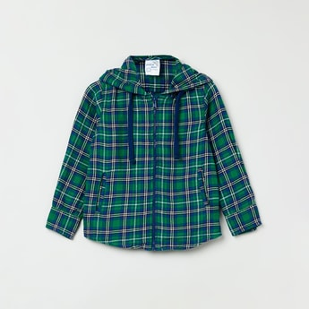 MAX Checked Full Sleeves Hooded Shirt