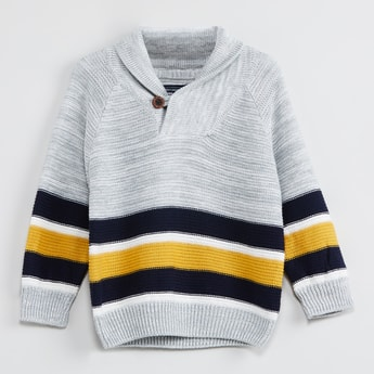 MAX Striped Collared Full Sleeves Sweater