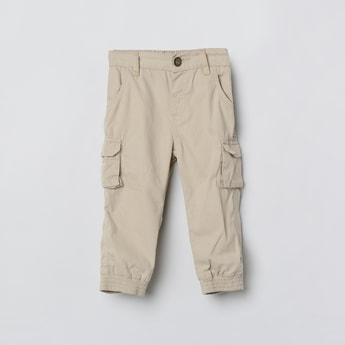 MAX Solid Cargo Pants with Semi Elasticated Waistband