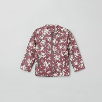 MAX Floral Print Quilted Zip-Up Jacket
