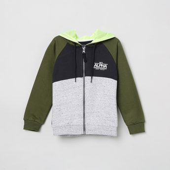 MAX Colourblocked Open-Front Hooded Sweatshirt