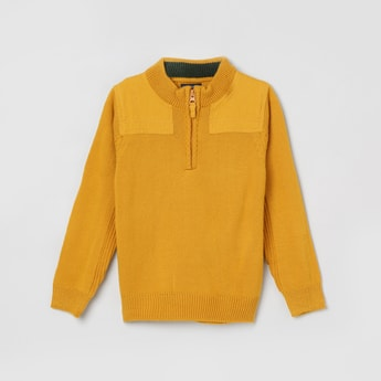 MAX Solid Zip-Closure Sweater