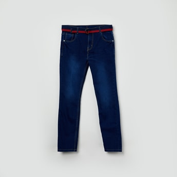 MAX Stonewashed Slim Fit Jeans with Belt