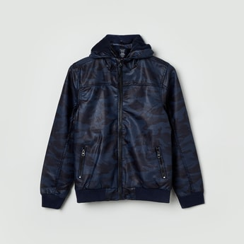MAX Camouflage Print Zip-Clousre Hooded Jacket