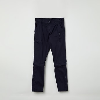 MAX Solid Zipper-Detail Chinos