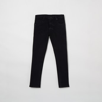 MAX Solid Button Closure Jeans