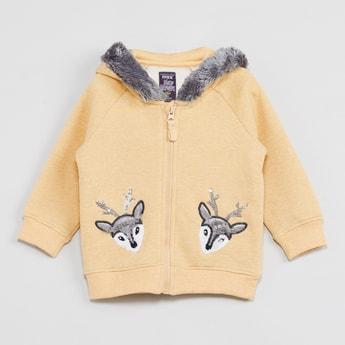 MAX Appliqued Zip-Up Hooded Sweatshirt