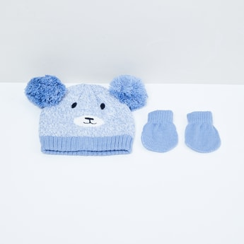 MAX Appliqued Beanie with Mittens