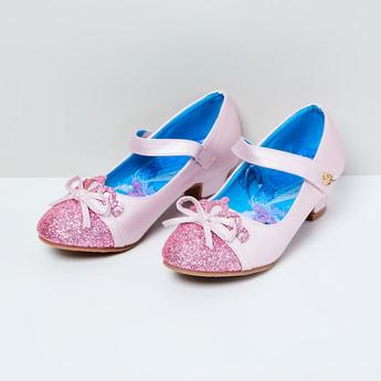 MAX Frozen Print Shimmery Ballerinas with Block Heels