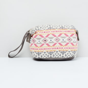 MAX Patterned Weave Pouch with Mirror Work