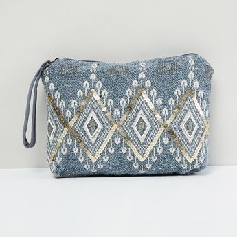 MAX Textured Sequinned Pouch
