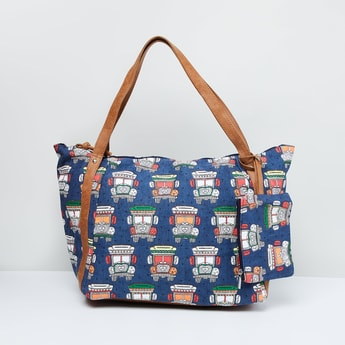 MAX Printed Tote Bag with Pouch
