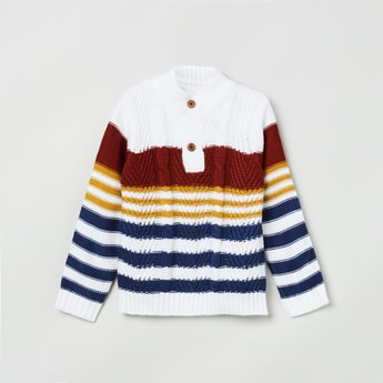 MAX Striped Sweater with Ribbed Hem
