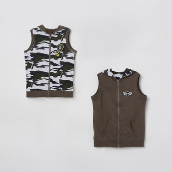 MAX Printed Reversible Sleeveless Jacket