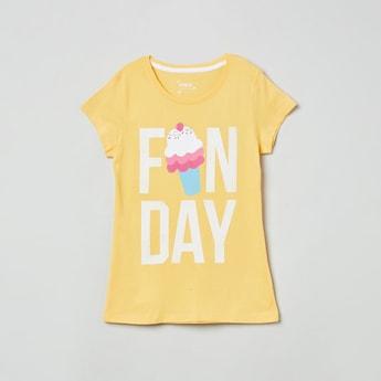 MAX Typographic Print Round Neck T-shirt