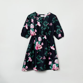 MAX Floral Print Full Sleeves A-line Dress