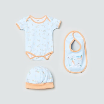 MAX Printed Romper with Cap and Bib