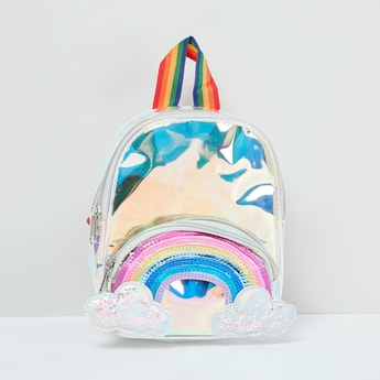 MAX Textured Backpack with Rainbow Applique