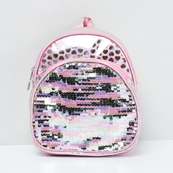 MAX Heart Print Sequinned Backpack