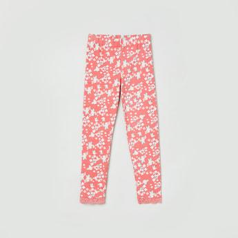 MAX Floral Print Lace Trimmed Leggings