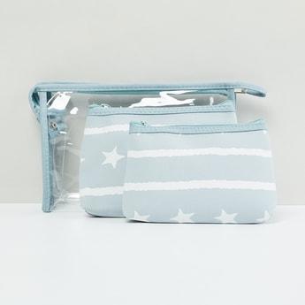 MAX Star Print Transparent Pouches - Set of 3 Pcs.