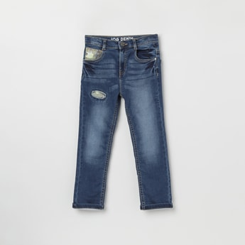 MAX Stonewashed Slim Fit Jeans with Contrast Patch Detailing