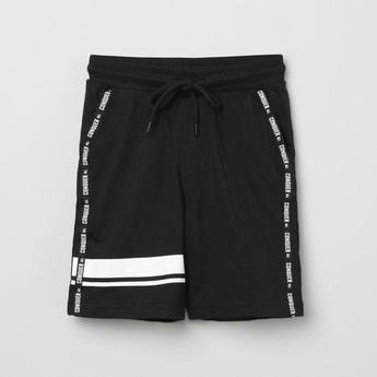 MAX Printed Tape Detail Drawstring Waist Shorts