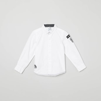 MAX Solid Applique Detailed Casual Shirt
