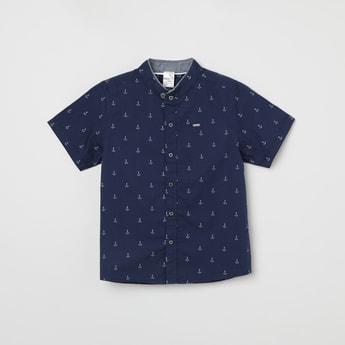 MAX Printed Band Collar Short Sleeves Shirt