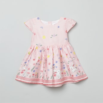 MAX Floral Print Fit & Flare Dress with Sash Tie-Up