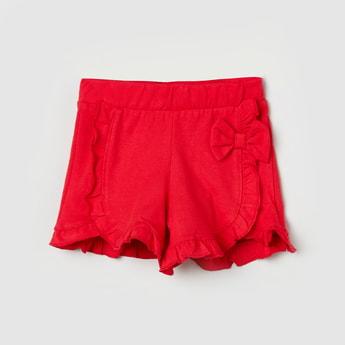 MAX Ruffled Bow Appliqued Shorts