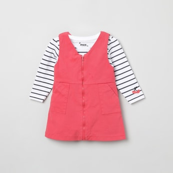 MAX Solid Pinafore Dress with Striped T-shirt