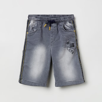 MAX Printed Stonewashed Denim Shorts